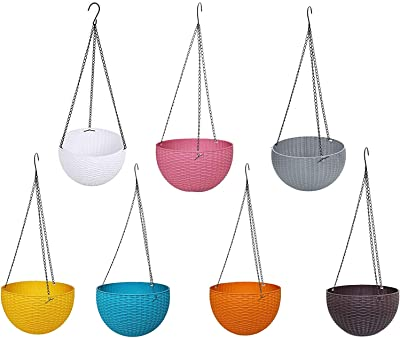 Royal sapphire Multicolor Round Rattan Woven Plastic Flower Hanging Planter/Beautiful Round Gamla Pot/Flower Hanging Pot for Garden Balcony (Multicolor, Pack of 7)