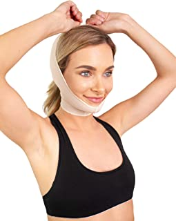 Post Facial Surgery Chin Strap Compression Garment | Chin and Neck Liposuction Wrap - Neck Lift or Neck Surgery, Weight Loss Surgery Recovery Kit Style 9B (X-Large)