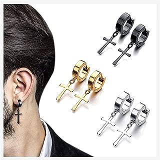 Men's Womens Stainless Steel Gold/Black/Silver Cross Dangle Hinged Hoop Earrings,Stainless Steel Hoop Huggie Earrings Cross Drop Dangle Earrings,Cross Earrings Piercing Jewelry Set