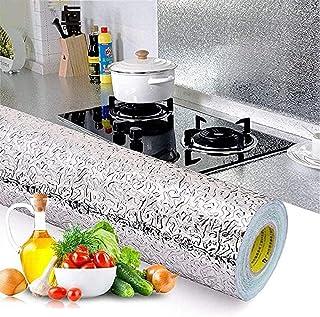 40x1 متر ألومنيوم مقاوم للماء ومقاوم للزيوت ملصقات المطبخ ورق حائط ذاتي اللصق قابل للقص