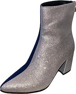 DAIFINEY Dames winterlaarzen patchwork kleur korte schacht laarzen enkellaars met blokhak halve laarzen laarzen bootie sli...