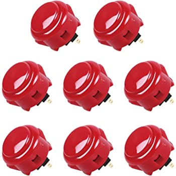 Sanwa 6 pcs OBSF-30 RED (Bright Red) OEM Arcade Push Button (Mad Catz SF4 Tournament Joystick Compatible)