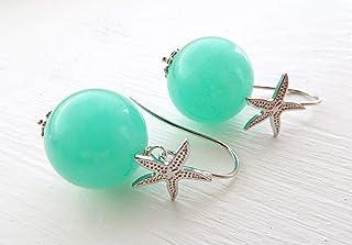 Pendientes de jade agua verde y estrellas de mar, plata 925, joyas con piedras semi preciosas, estilo moderno, made in italy