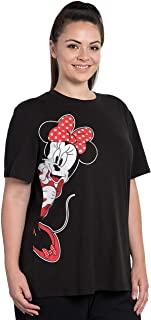 Disney Womens Plus Size T-Shirt Minnie Mouse Sitting Pink Bow Print Black
