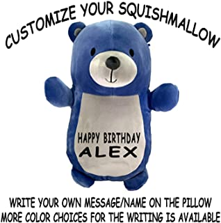 Customized Original Kellytoy Squishmallow Hug Mees DIY Super Soft Plust Toy Stuffed Animal Pet Pillow Gift Birthday Holiday Christmas (14 Inches, Bear)