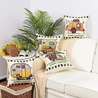 YINNAZI Happy Campers Pattern Farmhouse Decor Square Linen Cotton Throw Pillow Cover Camp Cushion Cover Pillowcase for Couch Bed Living Dorm 18 x 18 Inch Set of 4 (Size2)