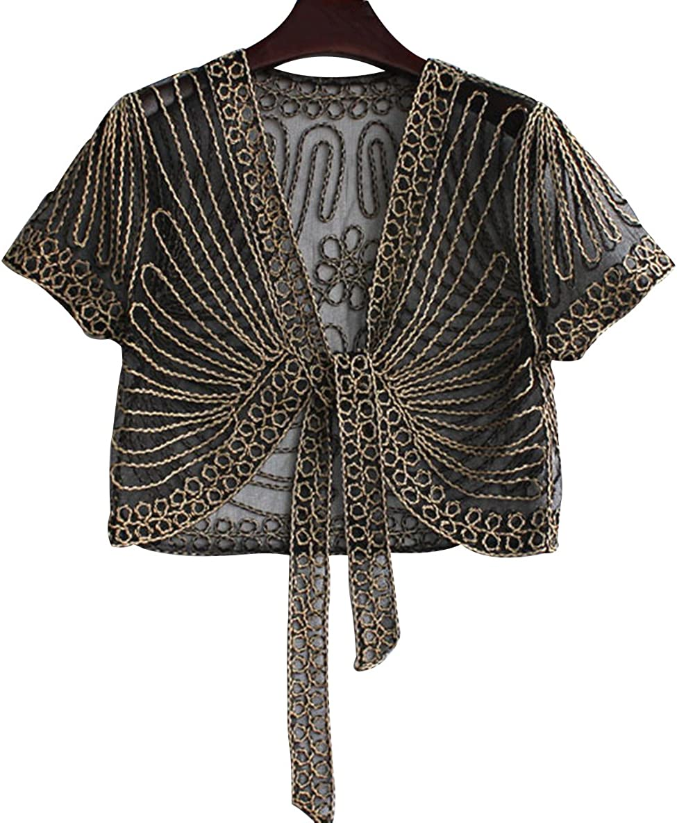 Trendy XU Summer Short Sleeve Perspective Mesh Shrug Bolero Lace Cardigan Dress Shawl