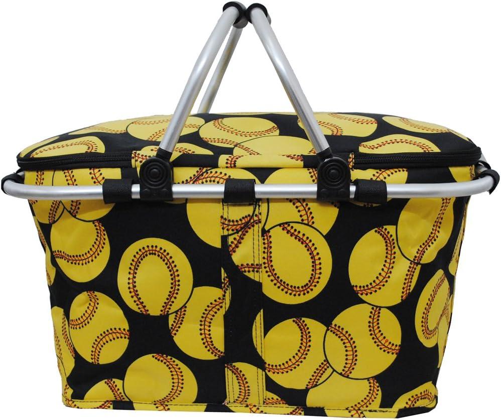 Softballprint Insulated Market Free shipping Washington Mall Basket-black Picnic