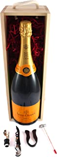 NV Veuve Clicquot Non Vintage Champagne MAGNUM (150cls) in a wooden box with four wine accessories, 1 x 500ml