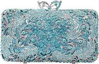 LVfenghe Women's Metal Hollow Luxury Diamond Dinner Bag Wedding Bride Clutch Bag Bridesmaid Holiday Gift Dress Chain Shoulder Bag Purse 18 * 6 * 10cm (Color : Blue)
