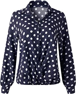 SZIVYSHI Long Sleeve Bishop Sleeve Draped Drape Cross Wrap Front Polka Dot Button Blouse Shirt Top