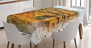 Ambesonne Italian Tablecloth, Faded Historic Photo Italian Town with Old Traditional Buildings Retro, Dining Room Kitchen Rectangular Table Cover, 52