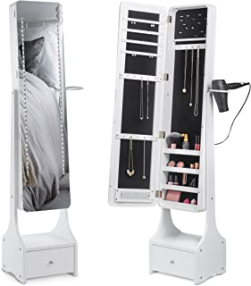 Beautify Jewelry Organizer Jewelry Cabinet Armoire, Full Length Illuminating Mirror, Touch Screen LED with Mirrored Lights, Makeup Storage and Drawer - White