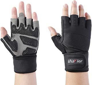 Shayier Half-Finger Protecting Gloves with Wrist Wraps Support for Gym Workout Fitness Cross Training Weight Lifting & Outdoor Sports