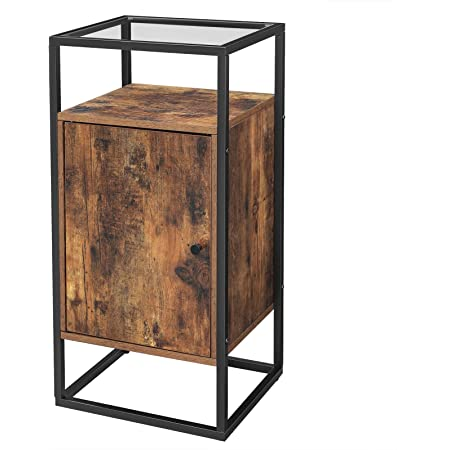 Vasagle End Table Tempered Glass Side Table Nightstand With Storage Shelf Accent Furniture In Living Room Lounge Stable Steel Frame Industrial Rustic Brown And Black Let03bx Amazon Co Uk Kitchen Home