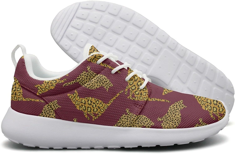 ERSER Purple Cat Leopard Print Long Distance Running shoes Women