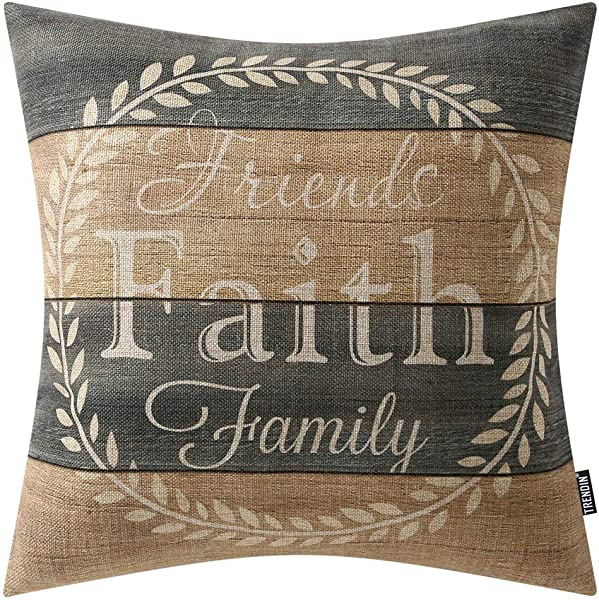 TRENDIN Decorative Throw Pillow Cover 18x18 Inch Weathered Wood Friends Faith Family Cushion Case Square Shape PL281TR