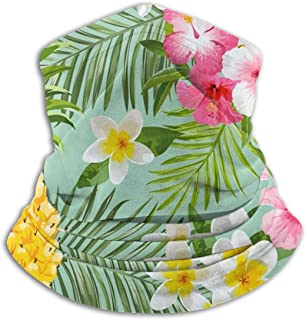 ~ Tropical Flowers and Pineapples Face Mask Tube Mask Seamless Balaclava Sunscreen Face Scarf Microfiber Neck Warmer