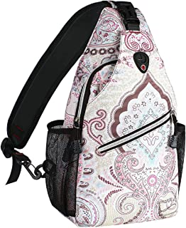 MOSISO Sling Backpack,Travel Hiking Daypack Pattern Rope Crossbody Shoulder Bag