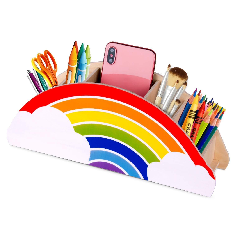 Gamenote portalápices de madera arcoíris, para mesa de niños/útiles de oficina/pincel de maquillaje/organizador escritorio/suministros para aulas (PH1): Amazon.es: Oficina y papelería