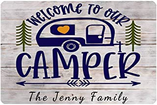 Personalized Welcome Doormat, Custom Your Text Home Doormat Welcome to Our Camper Hello Doormats for Outdoor Entrance Indo...