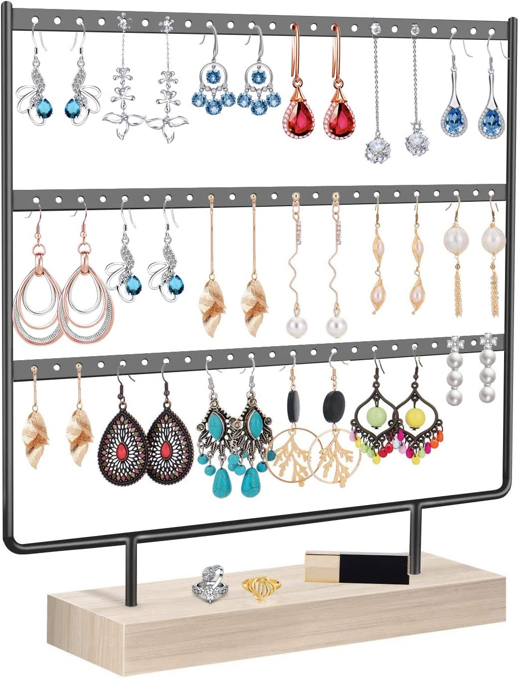 Earrings Organizer Jewelry Display Stand, 3-Tier Earring Holder Rack for Hanging Earrings, Metal and Wood Basic Large Storage Earring Jewelry Display Tree as Women Girls Gift