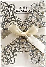 Birmingfive 10pcs Laser Cut Bling Glitter Wedding Invitations Cards with Ribbon Bowknot for Wedding Bridal Shower Engagement Birthday Graduation Invitation Cards(Silver)