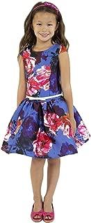 Little Girls Royal Blue Floral Print Mikado Flower Girl Dress 4-6