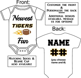 Personalized Custom Made Newest Tigers 3 Fan Football Gerber Onesie Jersey - Baby Announcement Reveal or Shower Gift
