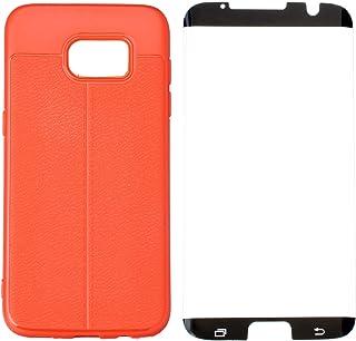 جراب خلفي سيليكون رفيع مع شاشة حماية 5D مضادة لبصمات الاصابع لموبايل سامسونج جالاكسي S7 ايدج من اوتو فوكس - احمر