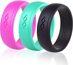 Rinfit Silicone Wedding Rings for Women Designed, Rubber Rings. Unique Set of Thin and Stackable Wedding Bands for Women. U.S. Design Patent Pending
