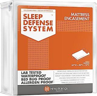 """محصولات بهداشتی سیستم دفاع خواب - محصور کردن تشک زیپ دار - ملکه - هیپو آلرژنیک - ضد آب - برطرف تختخواب و اثبات کنه گرد و غبار - کشش - استاندارد 12 """"عمق - 60"""" W x 80 """"L"""