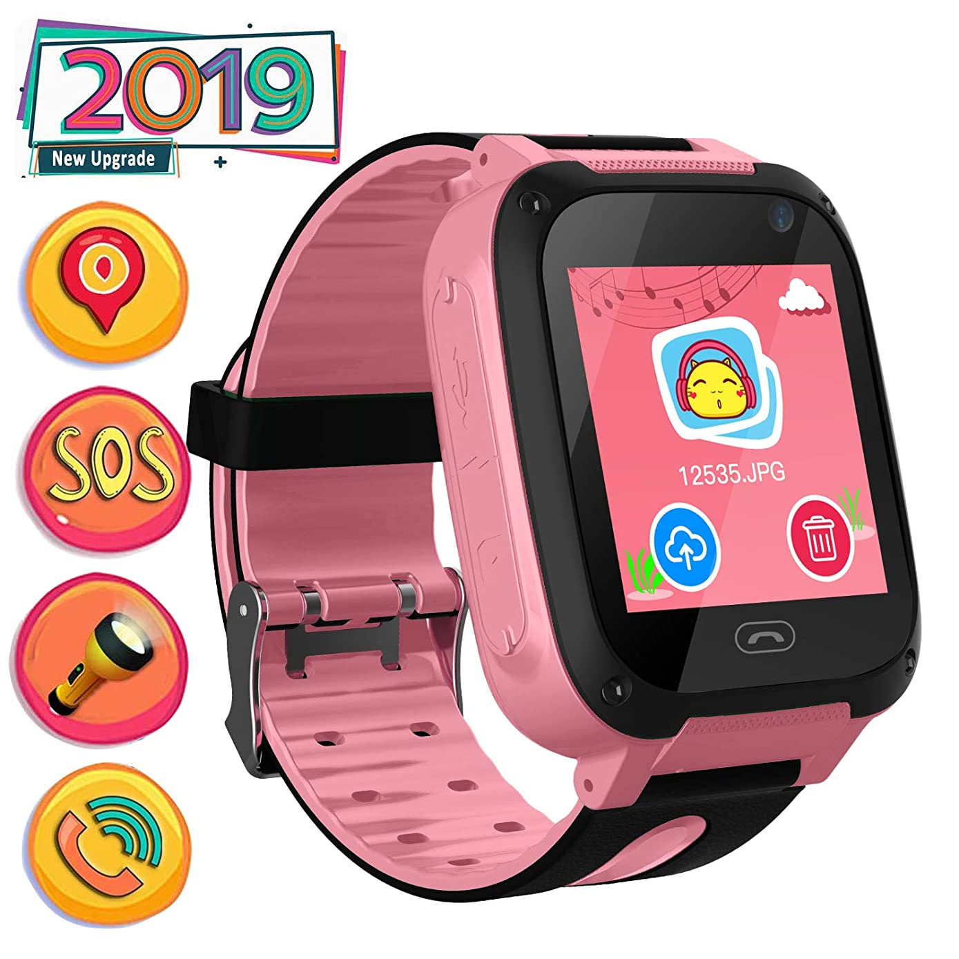 Kids Smart Watch Phone smartwatches for Children with LBS Tracker sim Card Anti-Lost sos Call Boys and Girls Birthday Compatible Android iOS Touch Screen Voice Chat Remote Camera