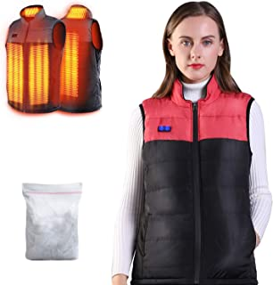 Heated Vest for Man/Woman, Electric Heating Coat Dual Independent Temperature ControlExtra Collar Heated Hiking, Ice skating for Heated Jacket/Sweater/Thermal Underwear Battery Not Included