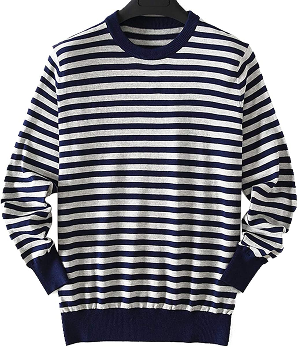 zhili Men's Pullover Sleeve Long Striped Sweater 100% Cotton
