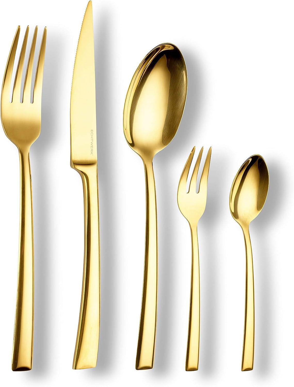 ECHTWERK EW-BS-3030G Shiny-Cubertería Color Oro, para hasta 6 Personas, 30 Piezas, Acero Inoxidable, Stainless Steel, dorado