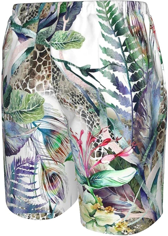 JINJUELS Mens Swim Trunks Watercolor Peacock Feathers Beachwear Board Shorts Quick Dry Cool Board Shorts Swimwear with Lining