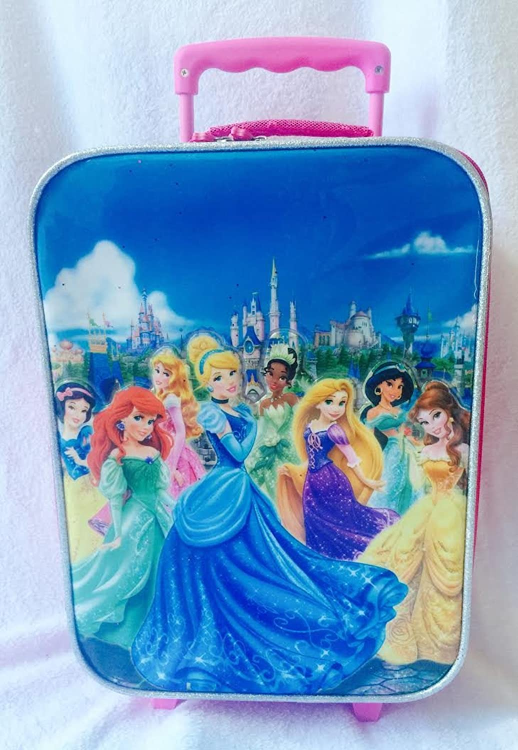 Authentic Disney Store, Princess Pink pull along Trolley holiday or school Bag for girls  Features Snow White, Ariel, Aurora, Cinderella, Tiana, Rapunzel, Jasmine, Belle
