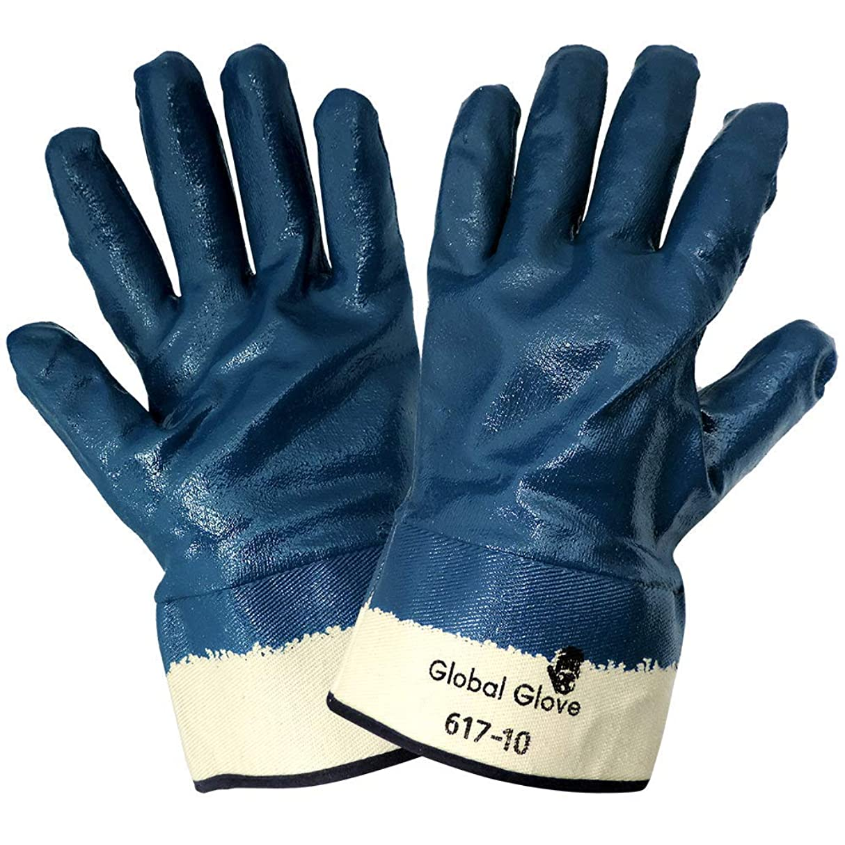 ルネッサンス十分に倍率Global Glove 617 Fully Nitrile Dipped on 2 Piece Jersey Liner Glove with Safety Cuff, Chemical Resistent, Extra Large, Light Blue (Case of 72) by Global Glove