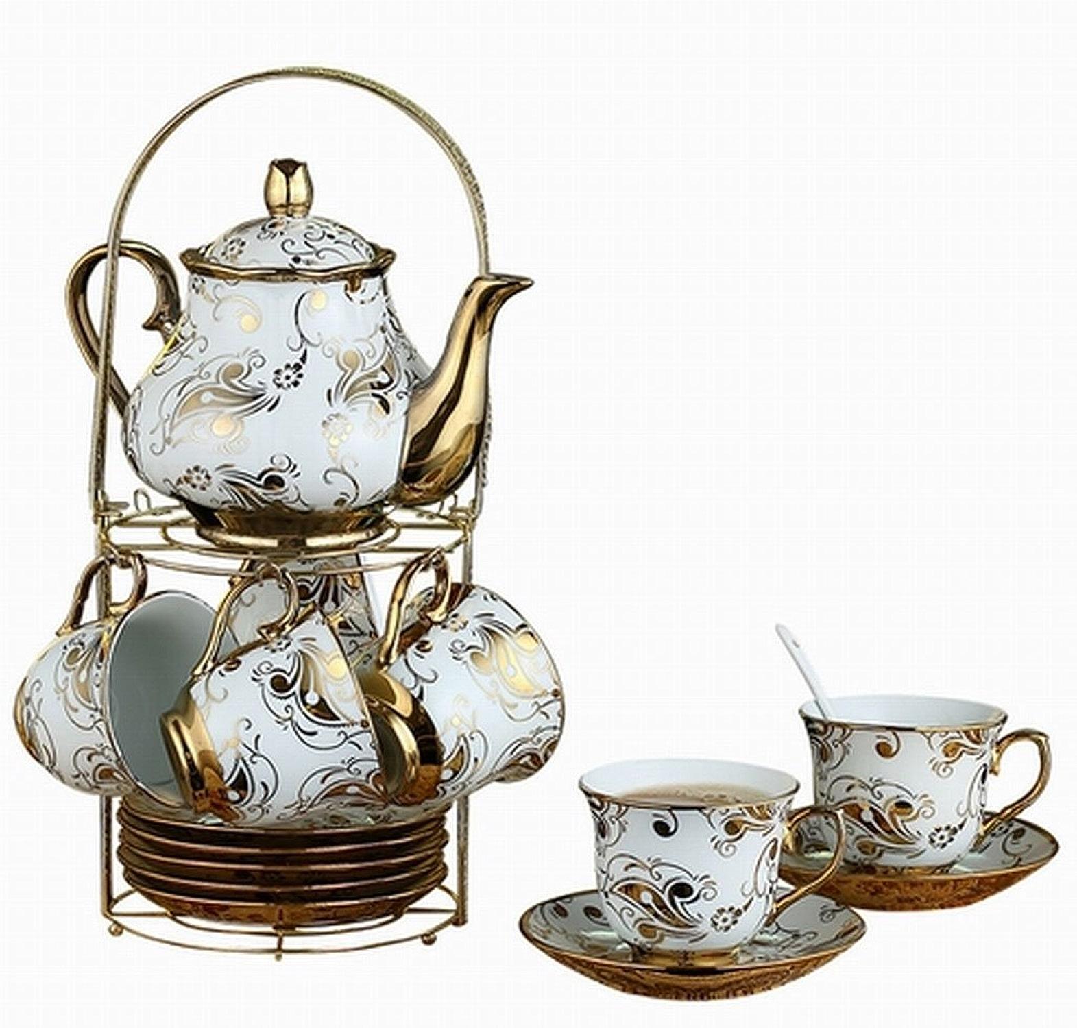 Ensemble de café en céramique créative Style européen minimaliste Impression tasse de café Ensemble Home Office Party Ensemble de thé thé en porcelaine anglais après-midi Set de 6