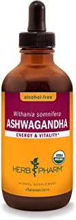 Herb Pharm Certified Organic Ashwagandha Extract for Energy and Vitality, Alcohol-Free Glycerite, 4 Ounce