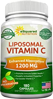 Liposomal Vitamin C - 1200mg Supplement - 180 Capsules - High Absorption VIT C Ascorbic Acid Pills - Supports Immune Syste...
