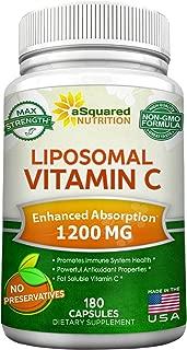 Liposomal Vitamin C - 1200mg Supplement - 180 Capsules - High Absorption VIT C Ascorbic Acid Pills - Liposome Encapsulated - Supports Immune System & Collagen Health - Non-GMO - 90 Servings