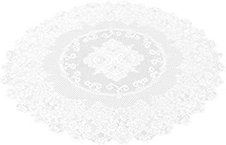 Juvale 59-Inch Round Decorative Lace Tablecloth with Elegant Floral Patterns for Birthday Parties, Weddings, Dining Room T...
