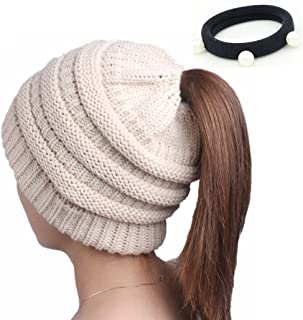 Winter Thick Knitted BeanieTail Soft Stretch Knit Messy High Bun Ponytail  Beanie Hat 1957ed2501a3