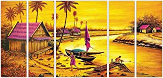 Art Amori Natural Landscape yellow effect set of 5 MDF PaintingMulticolour 12x18 Inch - 1 Piece + 6x18 Inch-4 pieces for W...