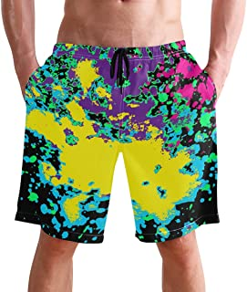 FFY Go Beach Shorts, Artistic Colorful Paint Splatter Mens Trunks Swim Short Quick Dry with Pockets for Summer Surfing Boa...