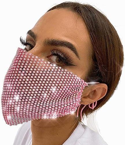 Barode Sparkly Rhinestones Mesh Mask Crystal Masquerade Halloween Masks Women