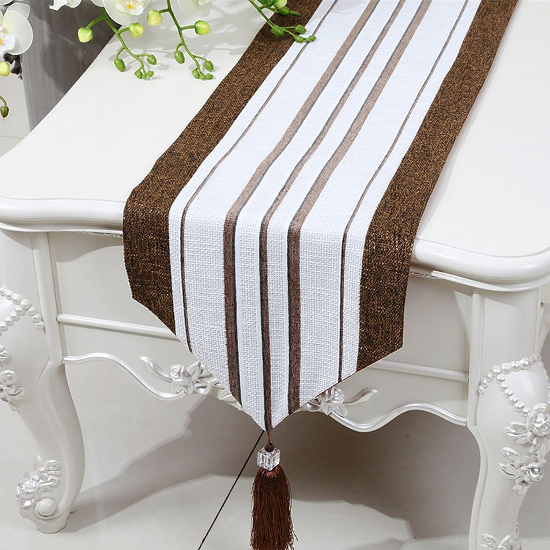 Entrega rápida y envío gratis en todos los pedidos. LINGZHIGAN marrón Stripe Cloth Cuadro Cuadro Cuadro corrojoor Moderno Simple Moda Upscale Salón Cocina Restaurante Hotel Textiles para el Hogar (Este producto sólo vende corrojoor de mesa) 33  180cm  marca de lujo