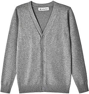 SMINLING Pinker Boys School Uniform Cardigan Sweater V-Neck Soft Cotton Clothing
